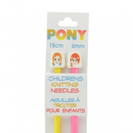 Pony Children Knitting Pins 18cm 6 mm - Faces