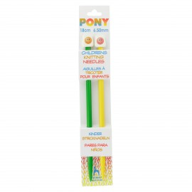 Pony Children Knitting Pins 18cm 6,5 mm - Smiley