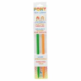 Pony Children Knitting Pins 18cm 6,5 mm - Faces