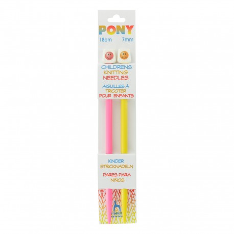Pony Children Knitting Pins 18cm 7mm - Smiley