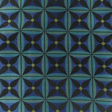 Tissu Jacquard Lombok - Bleu x 10cm