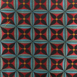 Jacquard fabric - Red Lombok x 10cm
