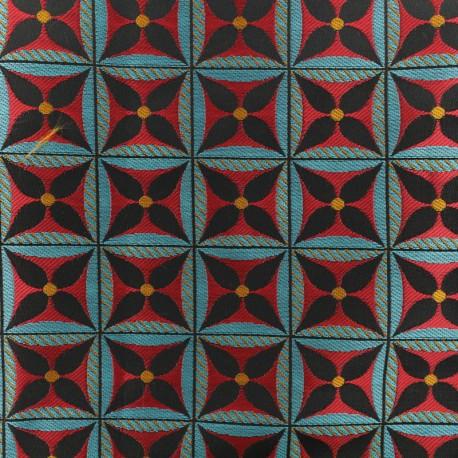 Tissu Jacquard Lombok - Rouge x 10cm