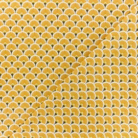 Cretonne cotton Fabric - saffran Eventails dorés x 10cm