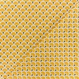 Cretonne cotton Fabric - saffran Eventails dorés x 10cm