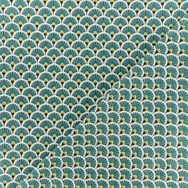 Cretonne cotton Fabric - Indigo blue Eventails dorés x 10cm