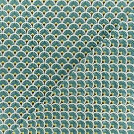 Tissu coton cretonne Eventails dorés - Indigo x 10cm
