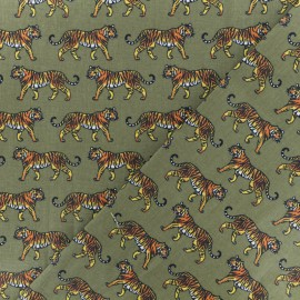 Cretonne cotton Fabric - green forest Eventails dorés x 10cm