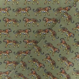 Tissu coton cretonne Eventails dorés - Vert Forêt x 10cm