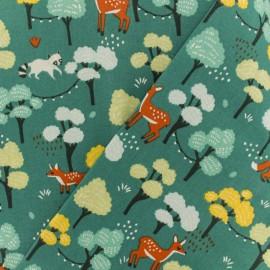 Tissu coton crétonne Maya - vert paon x 10cm