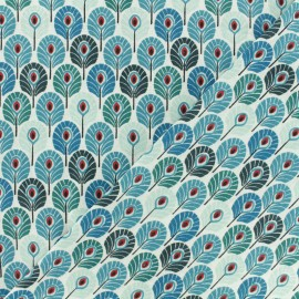 Tissu coton crétonne Plume de paon - bleu canard x 10cm