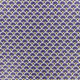 Coated cretonne cotton fabric - indigo blue Eventail x 10cm