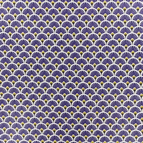 Coated cretonne cotton fabric - indigo blue Eventail x 10cm