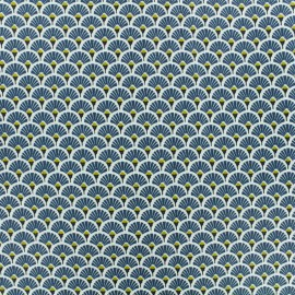Coated cretonne cotton fabric - petrol blue Eventail x 10cm