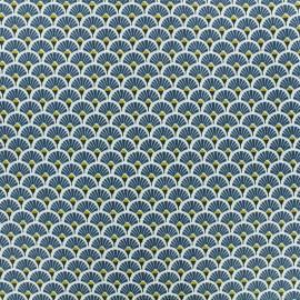 Tissu coton crétonne enduit Eventail - indigo x 10cm
