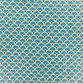 Coated cretonne cotton fabric - duck blue Eventail x 10cm