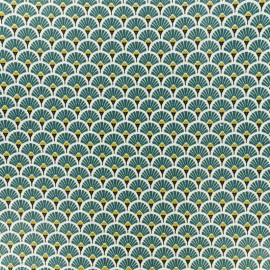 Coated cretonne cotton fabric - forest green Eventail x 10cm