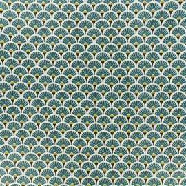 Tissu coton crétonne enduit Eventail - forêt x 10cm