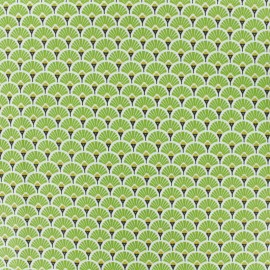 Coated cretonne cotton fabric - green Eventail x 10cm