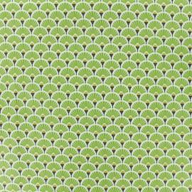 Tissu coton crétonne enduit Eventail - vert x 10cm