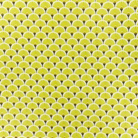 Coated cretonne cotton fabric - Lime green Eventail x 10cm