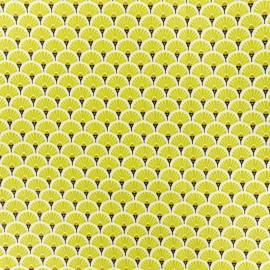 Tissu coton crétonne enduit Eventail - Citronelle x 10cm