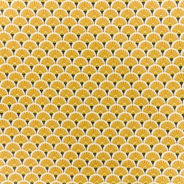Coated cretonne cotton fabric - Saffran Eventail x 10cm