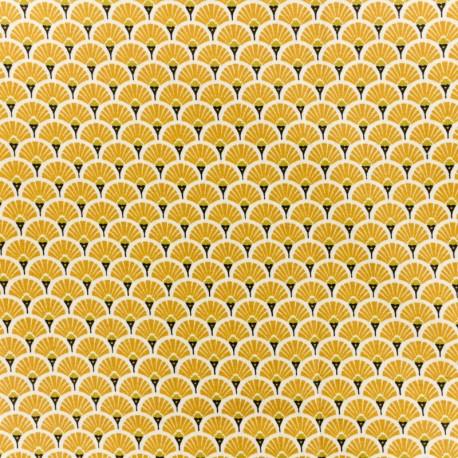 Coated cretonne cotton fabric - Saffran Eventail x 10cm