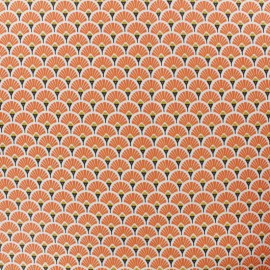 Coated cretonne cotton fabric - Orange Eventail x 10cm