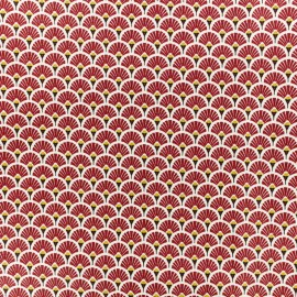 Coated cretonne cotton fabric - Burgundy Eventail x 10cm