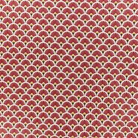 Tissu coton crétonne enduit Eventail - Bordeaux x 10cm