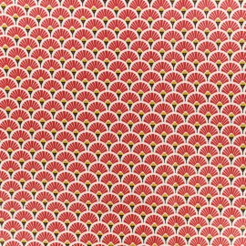 Coated cretonne cotton fabric - red Eventail x 10cm