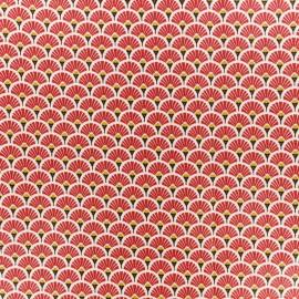 Tissu coton crétonne enduit Eventail - Rouge x 10cm