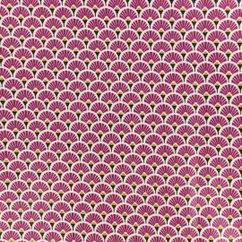 Coated cretonne cotton fabric - plum Eventail x 10cm