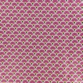 Tissu coton crétonne enduit Eventail - Prune x 10cm
