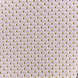 Coated cretonne cotton fabric - Lavender Eventail x 10cm