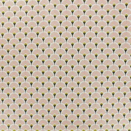 Coated cretonne cotton fabric - Pink Eventail x 10cm