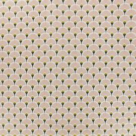 Tissu coton crétonne enduit Eventail - Rose x 10cm