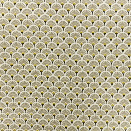Coated cretonne cotton fabric - beige Eventail x 10cm
