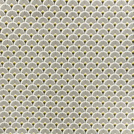 Coated cretonne cotton fabric - grey Eventail x 10cm