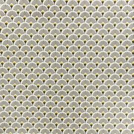 Tissu coton crétonne enduit Eventail - gris x 10cm