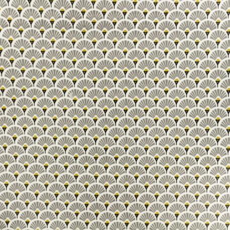 Coated cretonne cotton fabric - grey Eventail x 10cm