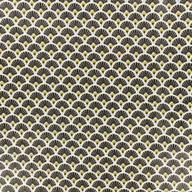 Tissu coton crétonne enduit Eventail - noir x 10cm