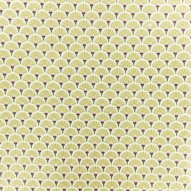 Coated cretonne cotton fabric - gold Eventail x 10cm