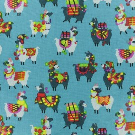 Coated cretonne cotton fabric - blue llama x 10cm