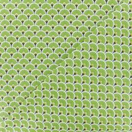 Tissu coton crétonne Eventails dorés - vert x 10cm