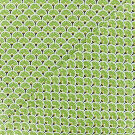 Cretonne cotton Fabric Eventails dorés - green x 10cm