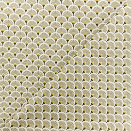 Cretonne cotton Fabric Eventails dorés - beige x 10cm