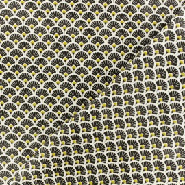 Tissu coton crétonne Eventails dorés - noir x 10cm