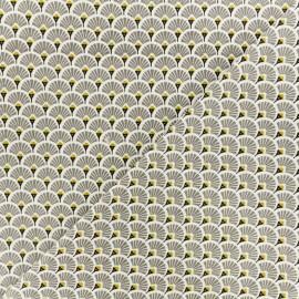 Tissu coton crétonne Eventails dorés - gris x 10cm